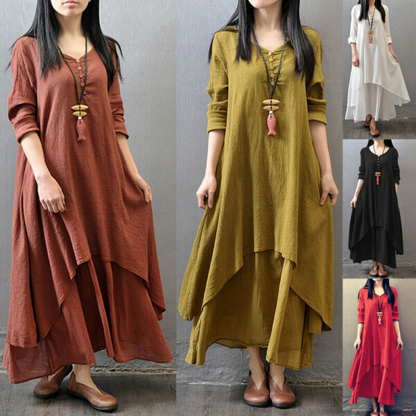 Womens Casual Kaftan Tunic Gypsy Maxi Dress Boho Cotton Linen Long Sleeve Dress $20.89