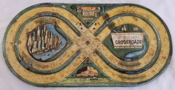 Magic Crossroads litho pressed steel Automatic Toy Co vintage antique racetrack $30.00