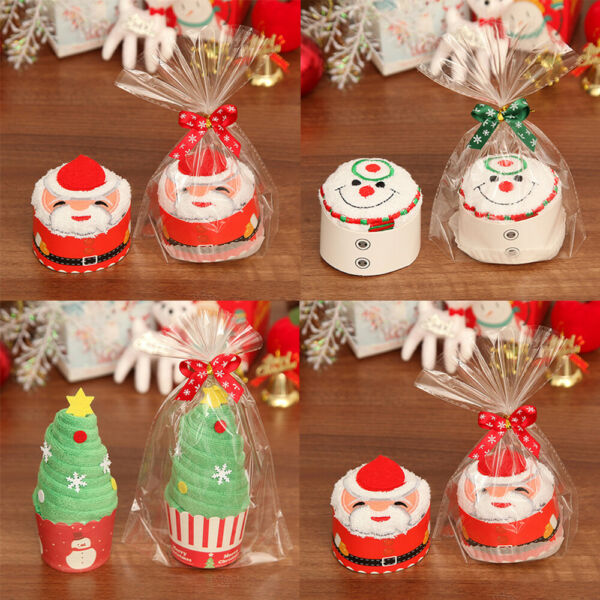Christmas Tree Santa Claus Gift Snowman Child Cupcake Cotton Towel Decoration