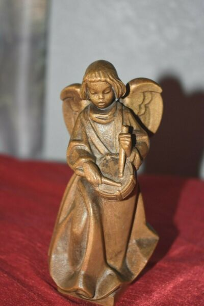 VINTAGE CARVED WOODEN ANGEL SOLID WOOD