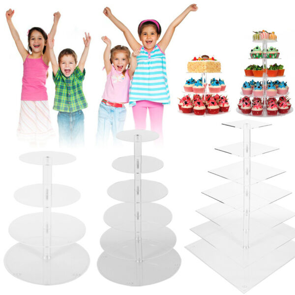 4 7 Tier Cupcake Stand Clear Acrylic Display Tower Holder Rack Wedding Birthday