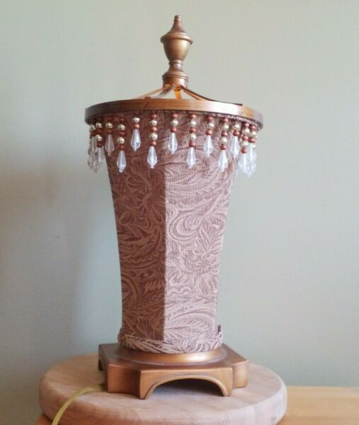 Unusual Vintage Cloth Lamp Beads electric not working shown with battery candle $24.95