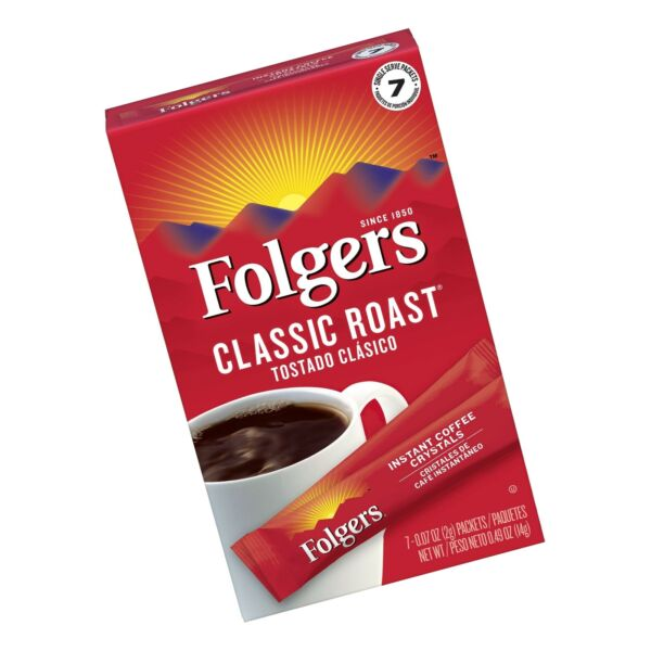 Folgers Classic Roast Instant Coffee Crystals 84 Single Serve Packets $15.75