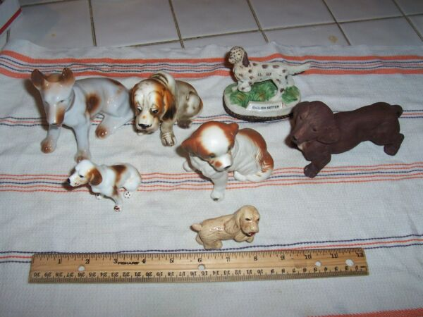 Vintage Collectible Ceramic Dogs Figurines Lot of 7 1 Resin Irish Setter $4.00