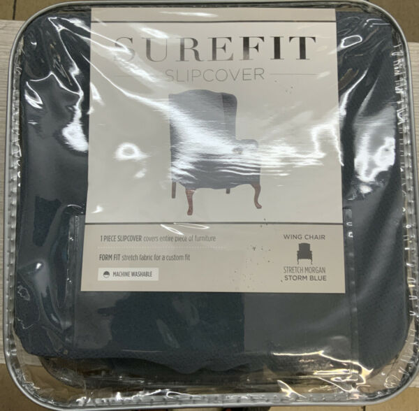 ✅ SUREFIT‼️ SLIPCOVER for Wing chair Stretch Morgan storm Blue‼️ $18.99