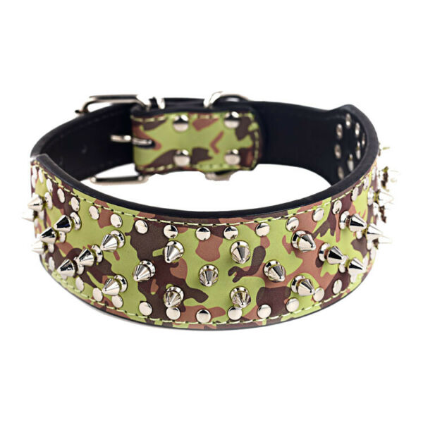 2quot; CAMOUFLAGE Metal Spiked Studded Leather Dog Collar Pit Bull Rivets L XL $14.24