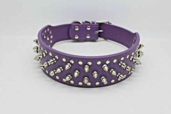 PURPLE Metal Spiked Studded Leather Dog Collar Pit Bull Rivets L XL Large Breeds $14.24