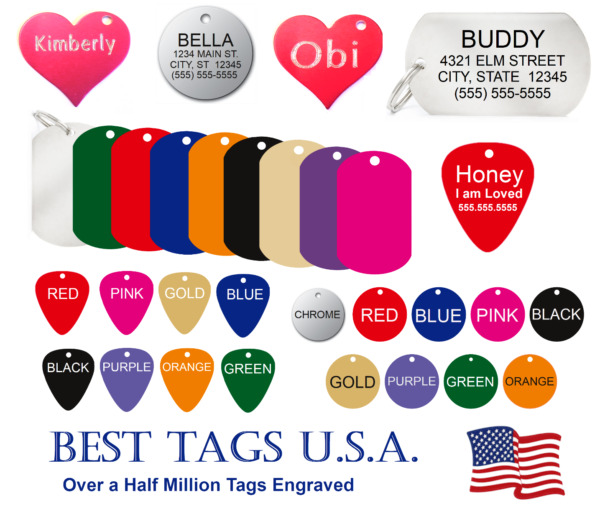 Dog tags personalized FREE Engraving Cat Pet Name ID MADE in USA gt;$2.39 Shipped $2.79