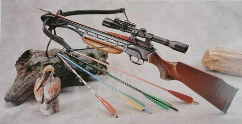 150 Lbs Wood Hunting Crossbow with Scope and Pack of Metal Arrows $89.99
