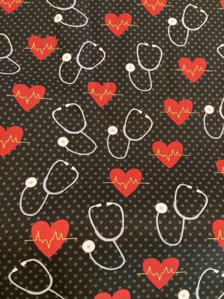 NEW EKG Stethoscope Heartbeat Fabric By the Half Yard 100% Cotton