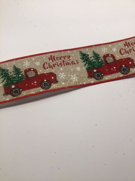 "10 Yds 2 1 2"" Wired Red Truck With Christmas Tree Faux Burlap linen Ribbon"
