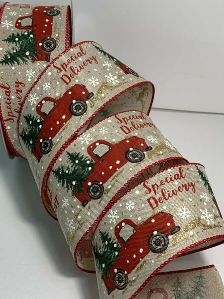 "5 Yds Of 2 1 2"" Red Truck With Christmas Tree Faux Burlap linen Ribbon Wired"