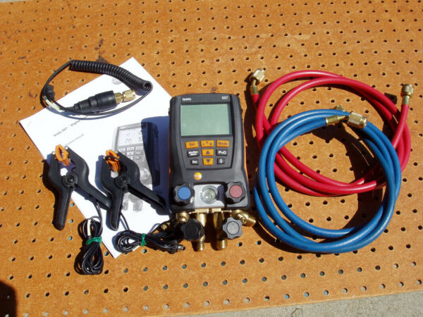 TESTO 557 DIGITAL MANIFOLD KIT with BLUETOOTH 2 HOSES REFRIGERATION HEAT PUMPS $374.99