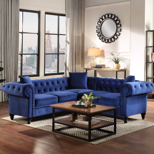 CONTEMPORARY Gray Blue VELVET SOFA SECTIONAL LIVING ROOM FURNITURE SET SALE USA $999.00