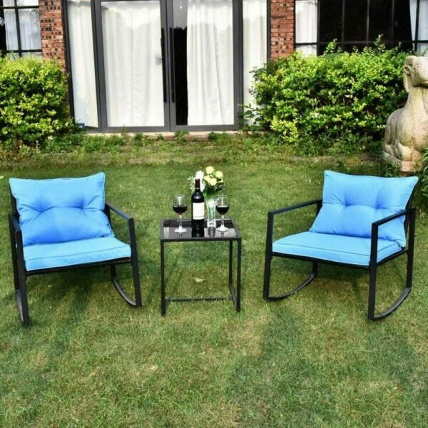 3 Pieces Outdoor Patio Wicker Rocking Sets Bistro Set Rattan Chair with Cushions $97.99