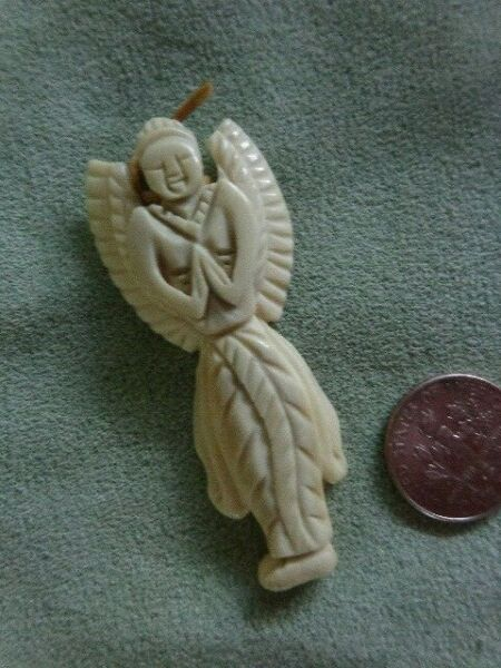 Vintage Carved Angel Necklace Pendant