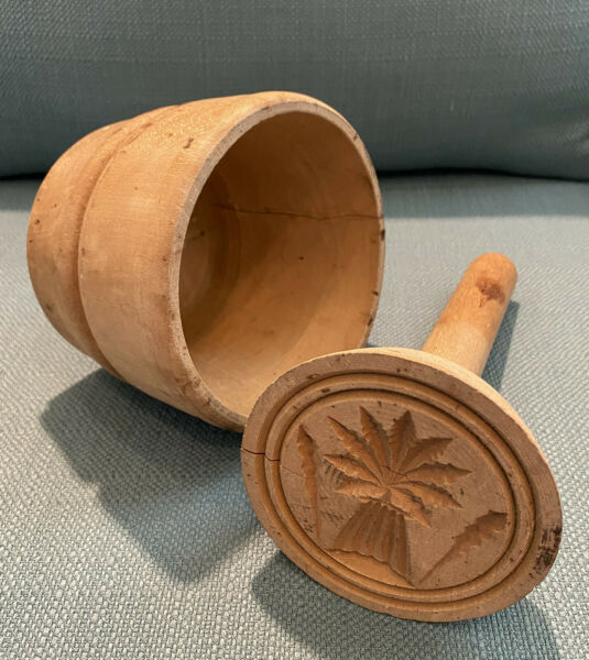Antique Primitive Vintage Wooden Butter Press Stamp Mold with Wheat Sheaf