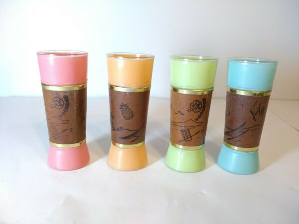 Vintage Siesta Ware Mid Century Frosted Color Tiki drinking glasses set of 4 $21.61