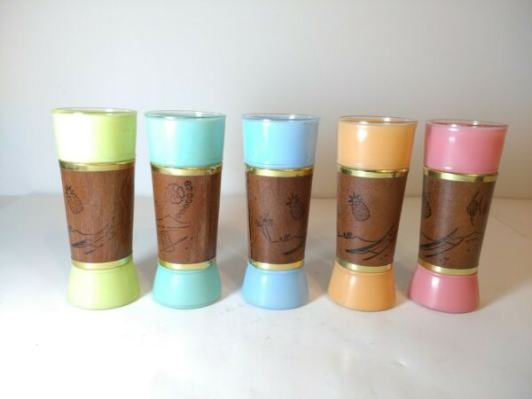 Vintage Siesta Ware Mid Century Frosted Color Tiki drinking glasses set of 5 $27.59