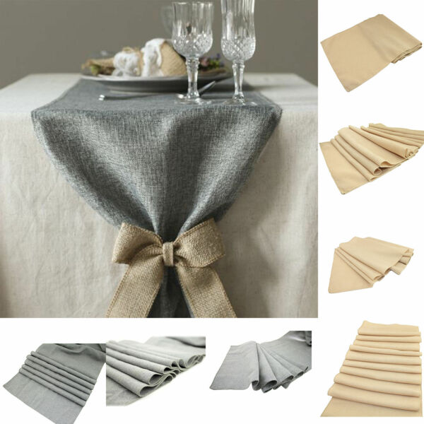Retro Linen Burlap Jute Table Runner Wedding Table Cover Event Decor 3 Sizes