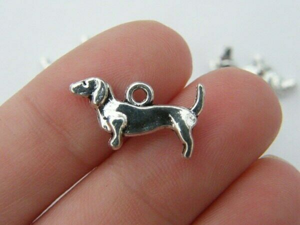 10 Dachshund dog charms antique silver tone A1054 $3.50