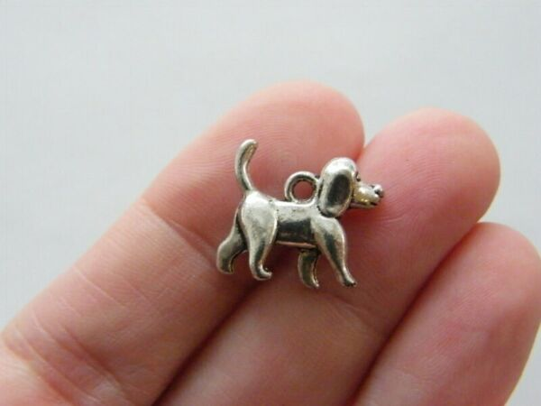 8 Dog charms antique silver tone A897 $3.75