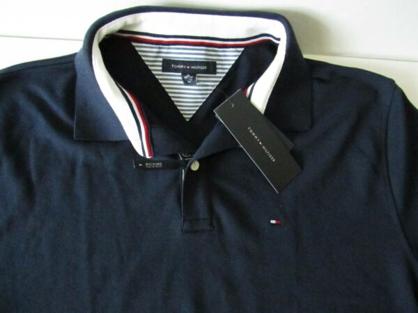 Tommy Hilfiger Mens XL Polo Shirt 2 Button Classic Fit Flag Short Sleeve Navy