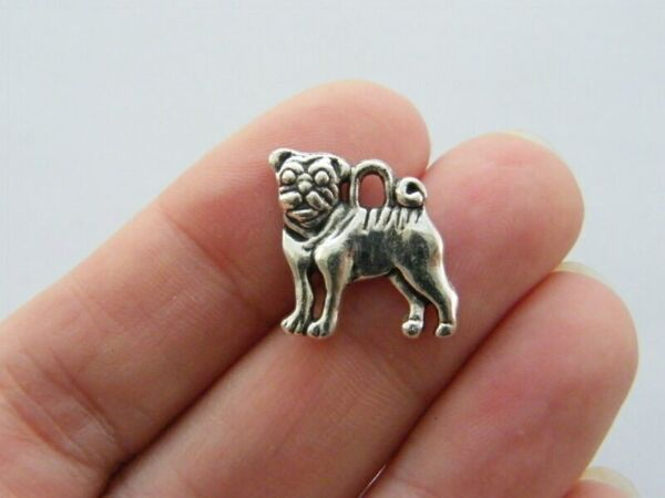 6 Dog charms antique silver tone A799 $3.75