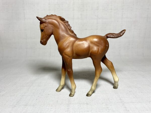 Vintage Horse Figurine Walking Foal Matte Plastic Molded Very sweet