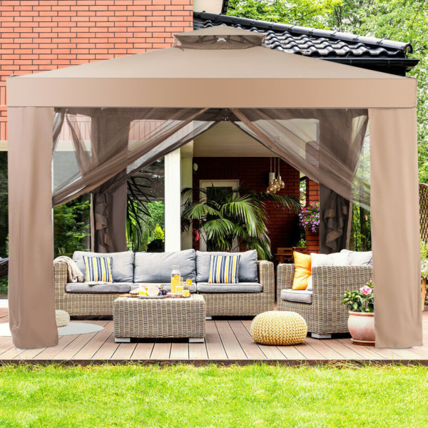 10'x 10' Canopy Gazebo Tent Shelter Garden Lawn Patio with Mosquito Netting $328.65
