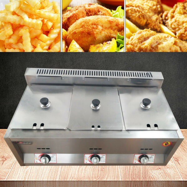 3 Pan Commercial Gas Heating Deep Fryer Countertop Gas Fry Pot Stainless Steel $139.00