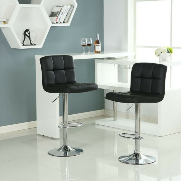 Set of 2 Bar Stools Chair PU Leather Adjustable Height Dining Swivel Pub Counter