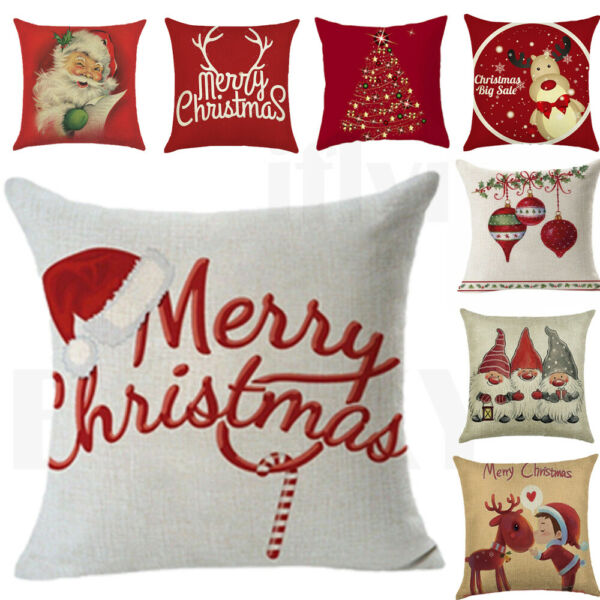 18quot; Christmas Xmas Cushion Cover Pillow Case Cotton Linen Home Sofa Throw Decor