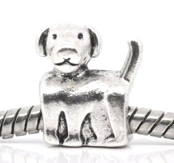 DOG Slider Bead for Silver European Charm Bracelet Puppy Pet Pup Canine Animal $4.25