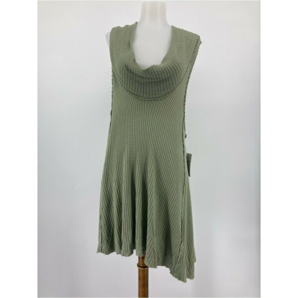 New We The Free People Top Swing It Cowl Neck Tank Green Waffle Knit Size Large