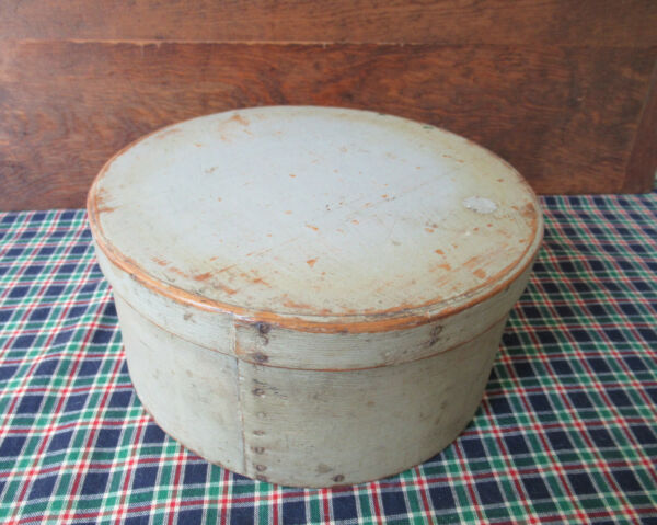 Antique Pantry Box Old Gray Light Green Paint 8.5quot; x 4quot; Untouched Estate Find