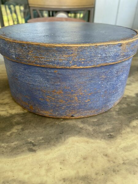 Antique Primitive Blue Pantry Box Aafa
