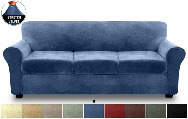 4 Piece Sofa Slipcover for 3 Cushion Sofa Stretch Velvet Couch Cover Navy Blue $52.99