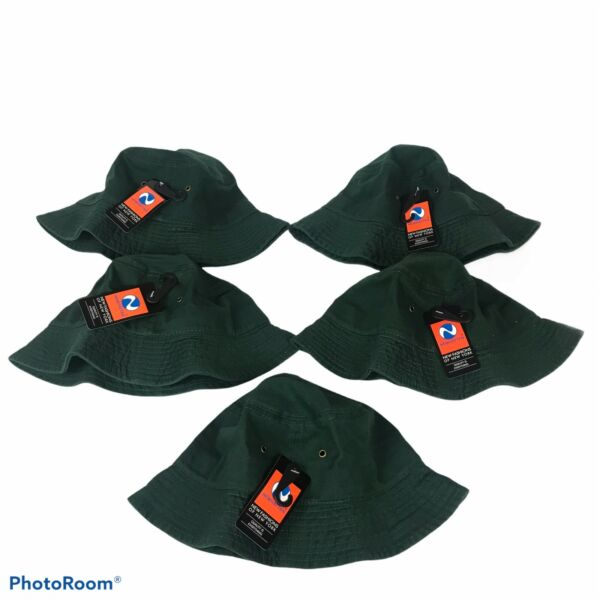 Lot of 5 Bucket Hat Green Cotton sun cap shade unisex Size S M Newhattan $30.00