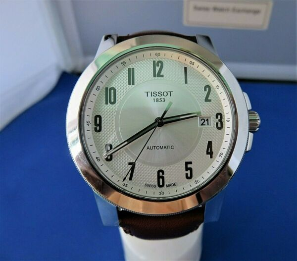 Tissot AUTOMATIC LARGE 43MM SILVER DIAL WITH ARABIC NUMERALS amp; DATE MEN#x27;S WATCH $175.00