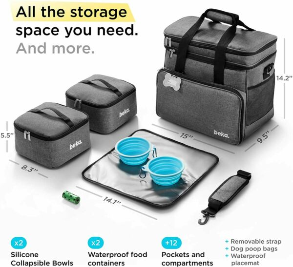 Beka Travel Bag Set Weekend Tote Dog Gear Food Carrier Organizer Container Bowls $35.99