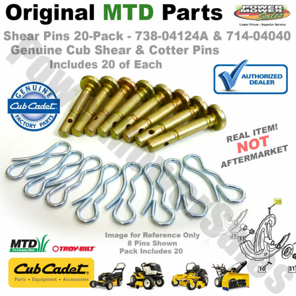 Shear Pinsamp;Cotters 50Pk Cub Cadet MTD Craftsman SnowBlowers 738 04124A 714 04040