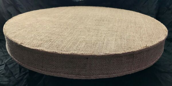 BURLAP CAKE STAND WITH BRAIDED ACCENTS 5 SIZES ROUND OR SQUARE 2 INCHES TALL