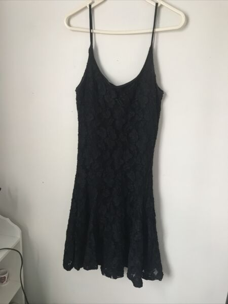 Vintage Betsey Johnson Luxe Black Lace Dress Size M