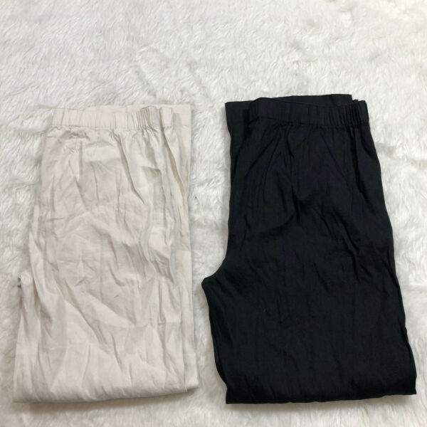 Lot of 2 J Jill Linen Stretch Pants Size 14 Straight Leg Black Beige Elastic S5 $34.99