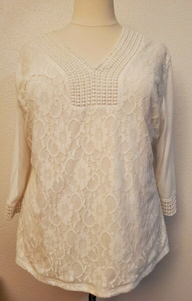 Shannon Ford New york 3x white long sleeve blouse with lace Beautiful top $15.99