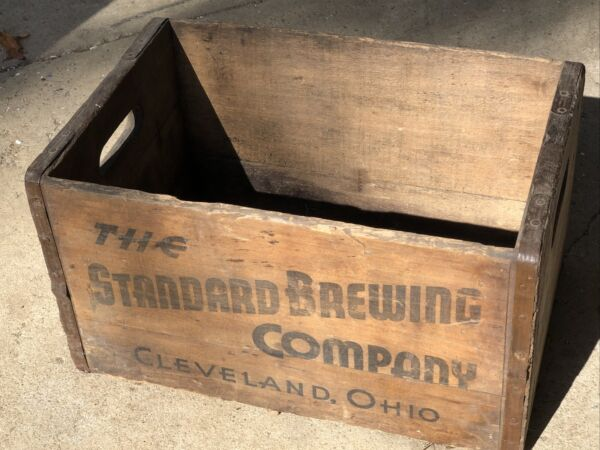 Vintage Wooden Beer Crate Standard Brewing Company Cleveland Ohio Wood Box Crate