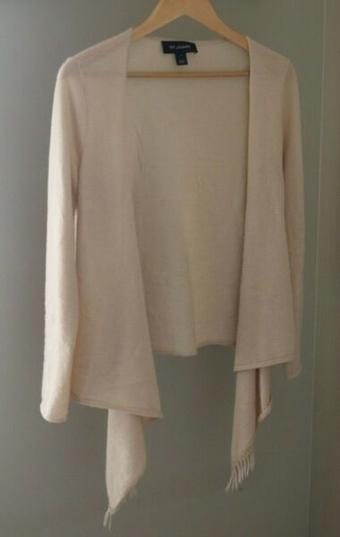 St. John 100% Cashmere Waterfall Cardigan Small Ivory Fringe Thin Open Front