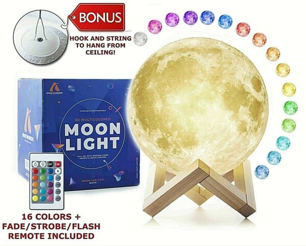 5.9quot; 3D Printing Moon Lamp Moonlight USB LED Night Lunar Light Touch Colors 15cm