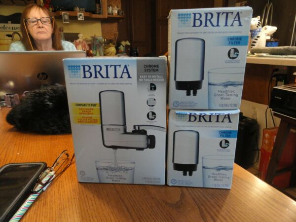 BRITA On Tap Faucet Mount Water Filtration System Chrome Plus 2 extra filters